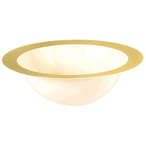 Creme Bowl w/Gold Rim 3.75qt