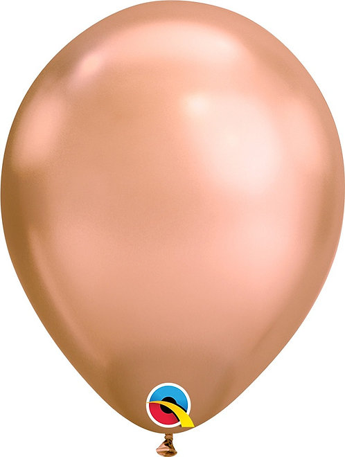 Inflated Chrome Rose Gold Latex Balloon