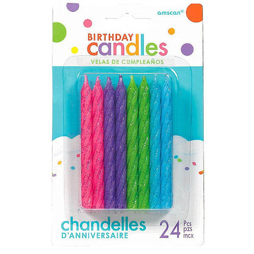 Bright Colors Spiral Candles 3.25in 24ct