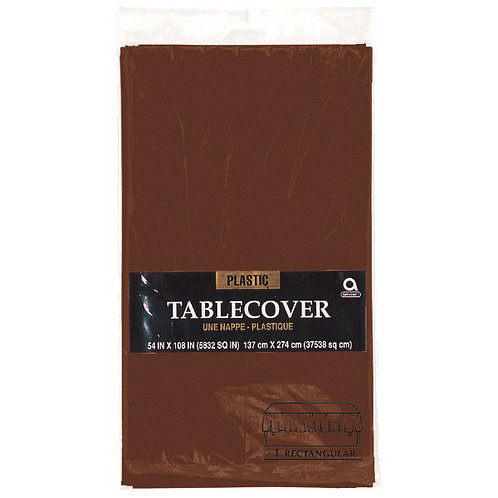 """Brown Rectangular Plastic Table Cover, 54"""" x 108"""""""