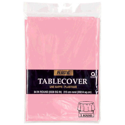 Pink Round Plastic Table Cover, 84""