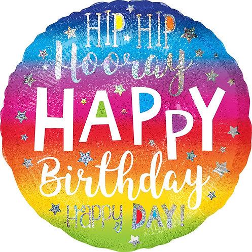 #322 Hip Hip Hooray Birthday 18in Balloon