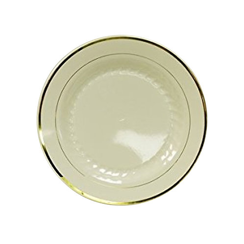 Regal Beige 6in Plastic Plates With Gold Trim 12ct