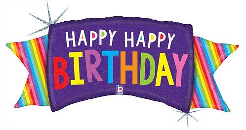 #14 Rainbow Banner Birthday 46in Balloon