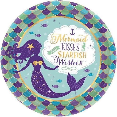 Mermaid Wishes Metallic Lunch Plates 8ct
