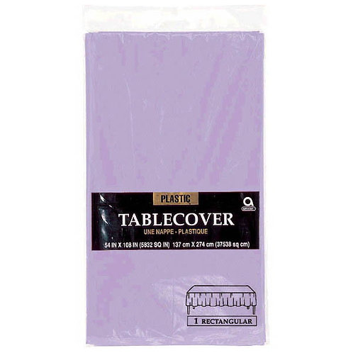 "Lavender Rectangular Plastic Table Cover, 54"" x 108"""