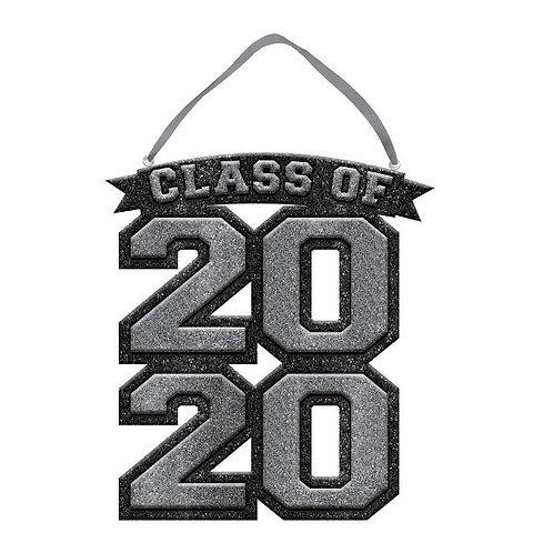 "2020 Glitter Sign 10"" x 9 1/4"" - Silver"