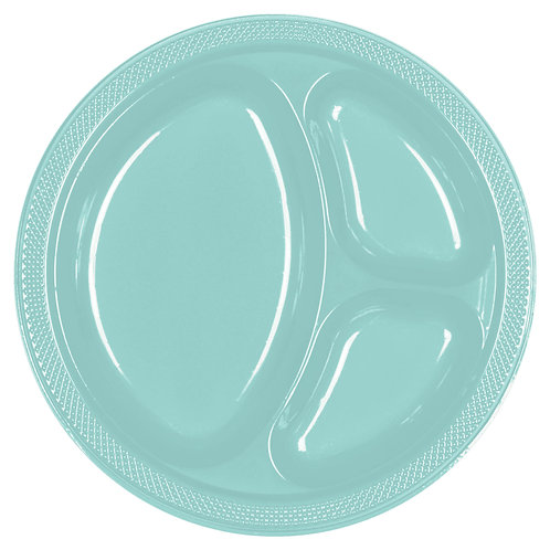 Robins Egg Blue 10in Divided Plastic Plates 20ct