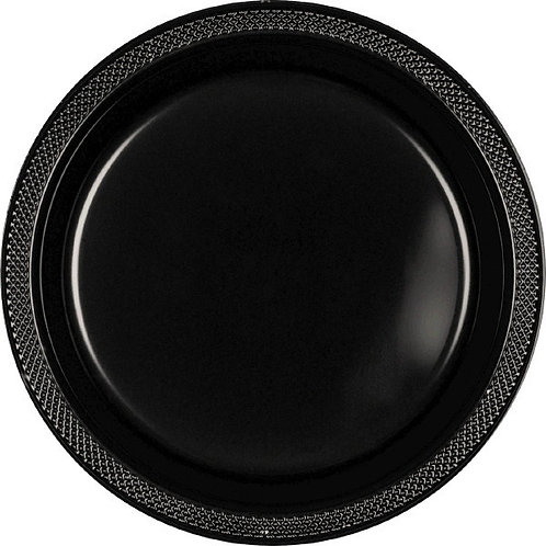 Black 7in Plastic Plates 20ct