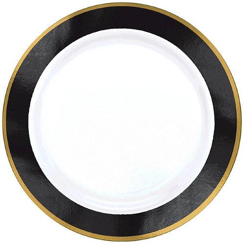 Black Border Premium 10in Plastic Plates 10ct