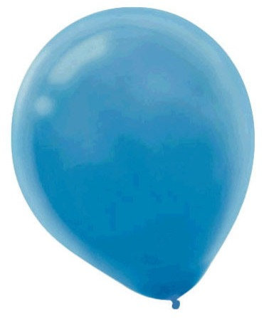 Inflated Light Blue Latex Balloon