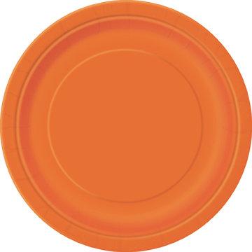 """Orange Round 9"""" Dinner Plates 16ct"""
