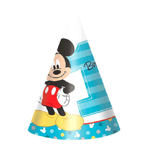 Mickey's Fun To Be One Paper Cone Hats 8ct
