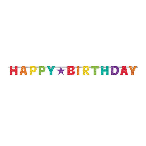 Birthday Accessories Rainbow Prismatic Letter Banner