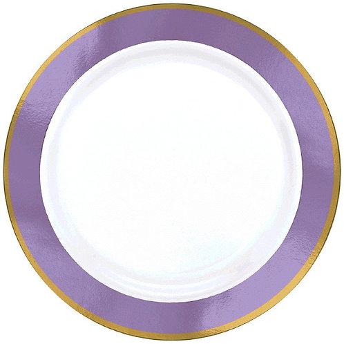 Lavender Border Premium 10in Plastic Plates 10ct