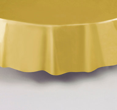 """Gold Round Plastic Table Cover 84"""""""