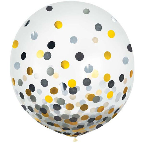 Black, Gold, & Silver Confetti 24in Latex Balloons 2ct
