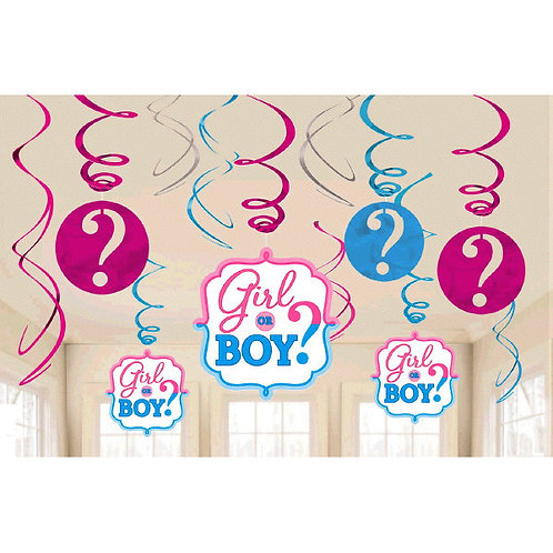 Girl or Boy? Value Pack Foil Swirl Decorations