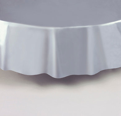 """Silver Round Plastic Table Cover 84"""""""