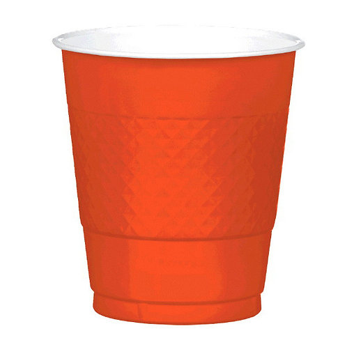 Orange 12oz Plastic Cups 20ct