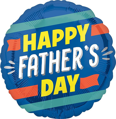 Happy Father's Day Stripes 18in Mylar Balloon