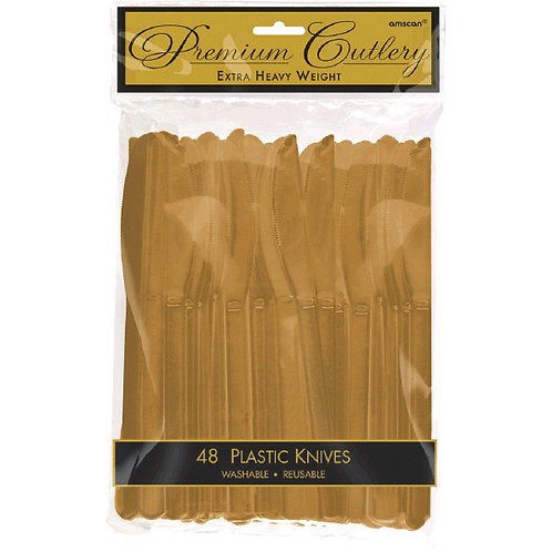 Gold Plastic Knives 48ct