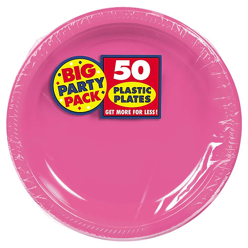 Bright Pink 10in Plastic Plates 50ct