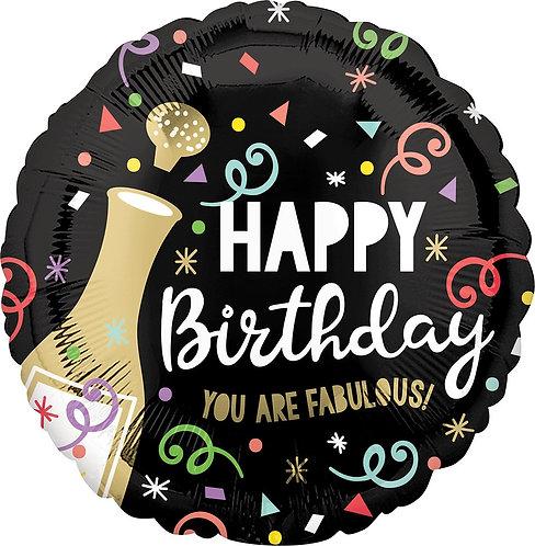 #345 Happy Birthday Bold Bubbly 18in Balloon