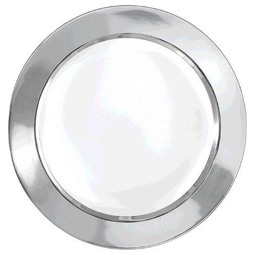 """White w/Silver Border, Premium Plastic Plates, 10 1/4""""  - 10ct"""
