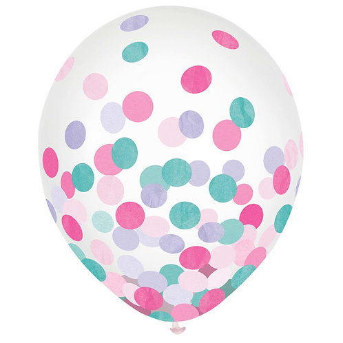 Girls Confetti 12in Latex Balloons 6ct