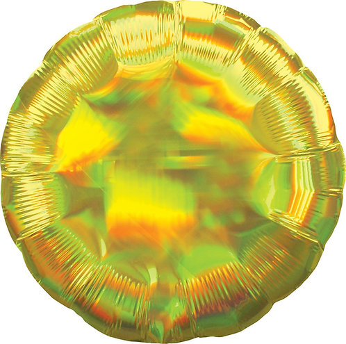 #690 Inflated Iridescent Yellow Round 18in Mylar Balloon