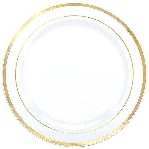 "Premium Plastic White Plates w/Prismatic Gold Border, 12"" - 10ct"