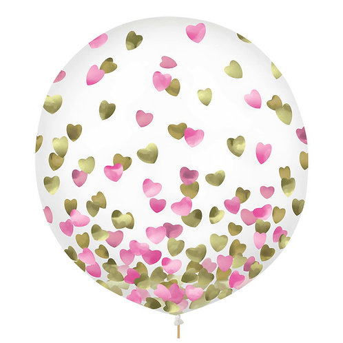 Pink & Gold Hearts Confetti 24in Latex Balloons 2ct