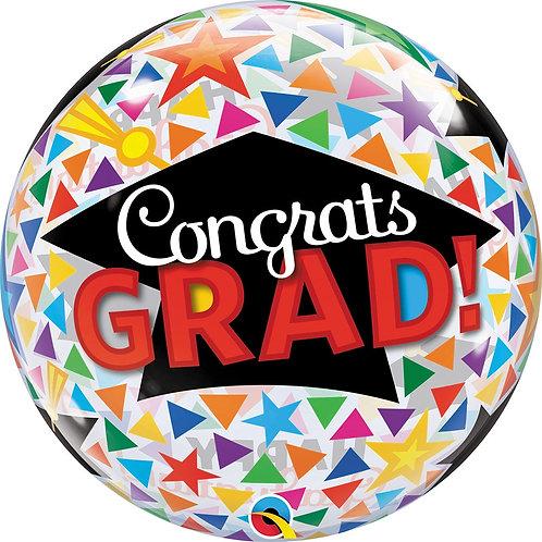 #GSS13 Congrats Grad Caps Bubble 22in Mylar Balloon