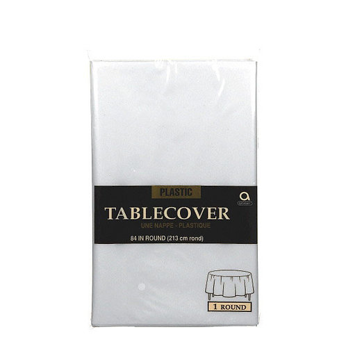 """Clear Round Plastic Table Cover, 84"""""""