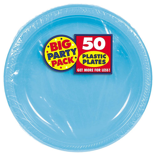 Caribbean Blue 10in Plastic Plates 50ct