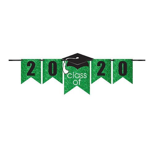 Grad Personalized Glitter Paper Letter Banner Kit - Green