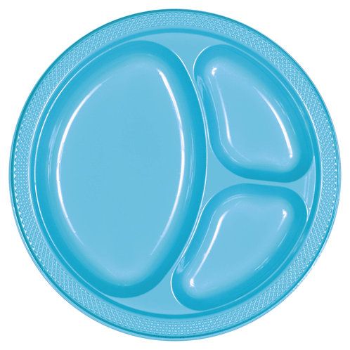 Caribbean Blue 10in Divided Plastic Plates 20ct