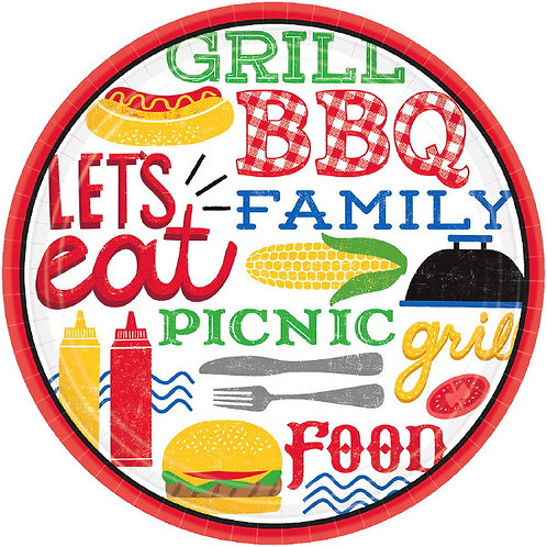 BBQ Picnic 7in Plates 18ct
