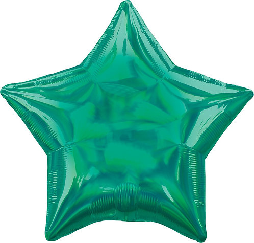 #674 Inflated Iridescent Green Star 18in Mylar Balloon