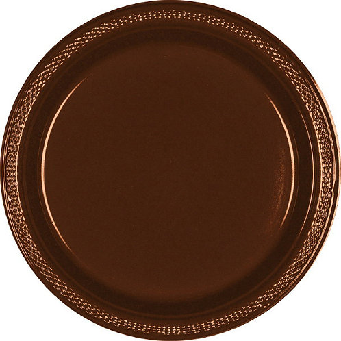 Brown 7in Plastic Plates 20ct