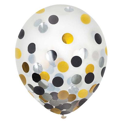 Black, Silver, & Gold Confetti 12in Latex Balloons 6ct
