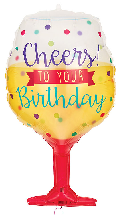 #26 Cheers to Your Birthday 34in Balloon