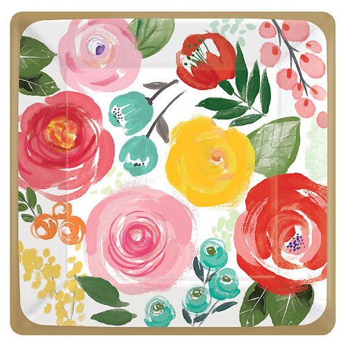 Bright Florals 7in Plates - 8ct