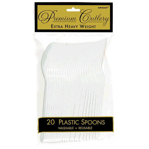 White Plastic Spoons 20ct