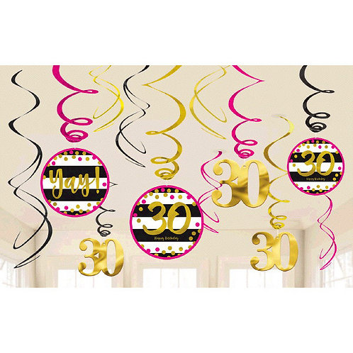 Pink and Gold Milestone 30 Swirl Decorations