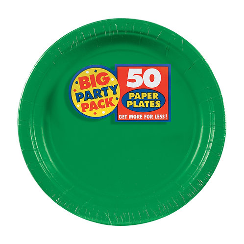Green 7in Paper Plates 50ct