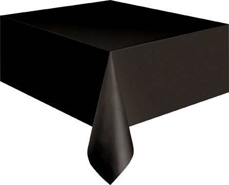 "Black Rectangular Plastic Table Cover 54""x108"""