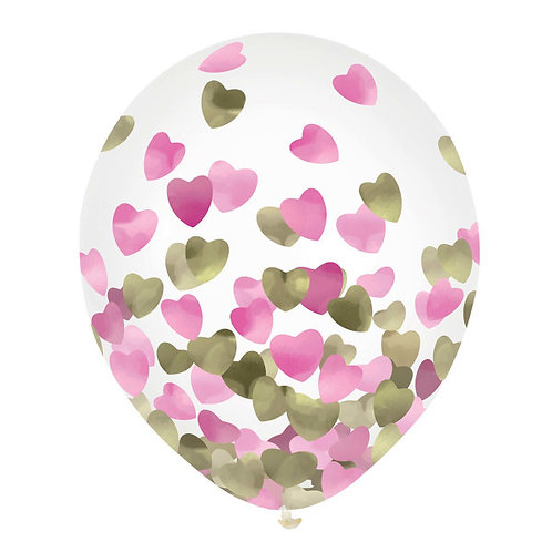 Pink & Gold Hearts Foil Confetti 12in Latex Balloons 6ct