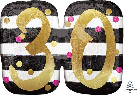 Pink and Gold Milestone 30 25in Mylar Balloon